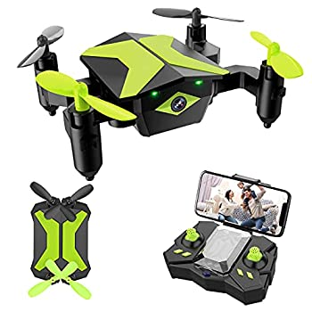 Drone with Camera Drones for Kids Beginners RC Quadcopter with App FPV Video Voice Control Altitude Hold Headless Mode Trajectory Flight Foldable Kids Drone Boys Gifts Girls Toys-Green