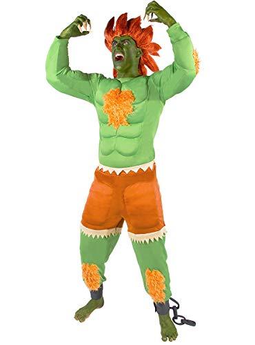 Funidelia | Disfraz de Blanka - Street Fighter Oficial para Hombre Talla XL ▶ Videojuegos, Años 80, Arcade - Verde