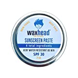 Waxhead Sunscreen Paste - Coral Reef Safe Sunscreen Zinc Oxide, Safe Sunscreen Hawaii, Safe Sunscreen for Kids and Adults, Surfing Sunscreen, Travel Size (SPF 30, 2oz)
