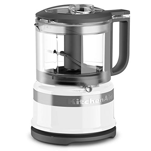 KitchenAid 2 Speed Pulsing Meal Prep Compact Mini Food Processor Chopper with 3.5 Cup Working Bowl, White (Certified Refurbished)
