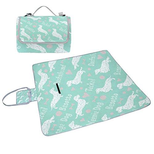 COOSUN Dachshund Box Muster für Hunde, Picknick-Decke mit Matte Schimmel resistent und wasserdicht Camping-Matte für rving, Picknickdecke, Strand, Wandern, Reisen und Ausflüge