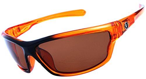 Nitrogen Men's Rectangular Sports Wrap 65mm Orange Polarized Sunglasses