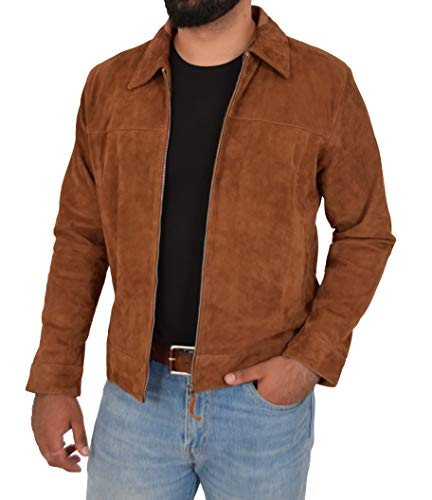 Mens Classic Zip Box Jacket Exclusive Goat Suede Harrington Style Larry Tan (Small)