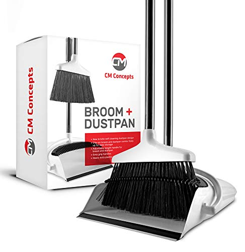 CM Concepts Broom and Dustpan Set with Self Cleaning Bristles