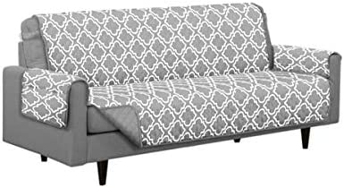 Best Austin Reversible Solid/Print Microfiber Furniture Protector with Strap & Side Pockets (Sofa, Grey)