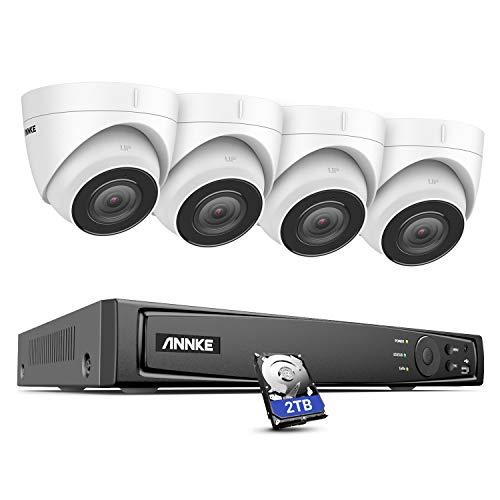 ANNKE H800 4K PoE Überwachungskamera Set mit Audioaufnehmen, 8MP Video Überwachungssystem mit 4X 8MP IP Dome Kameras,H.265+ 8CH ONVIF NVR Rekorder mit 2TB Festplatte