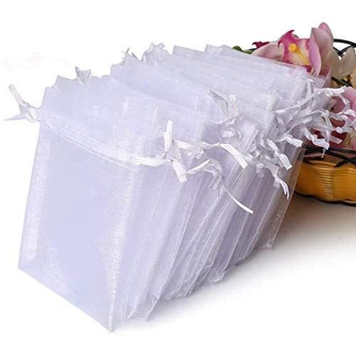 Hopttreely 100PCS Premium Sheer Organza Bags, White Wedding Favor Bags with Drawstring, 4x4.72 Jewelry Gift Bags for Party, Jewelry, Christmas, Festival, Bathroom Soaps, Makeup Organza Favor Bags