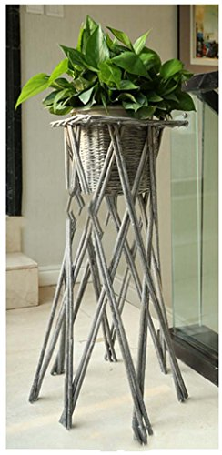 FZN Pot rotin Fleur Panier tissé Fleur Pot Vase paniers de Fleurs Baril rétro Fleur de siège créatif (Couleur : Gris, Style : D)