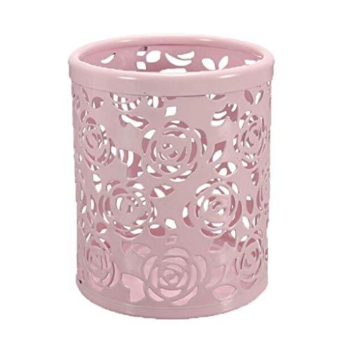 XYZMDJ Porte Ronde Creux Rose Pen, Motif Fleur Rose Maquillage Porte-Brosse for Office Accueil