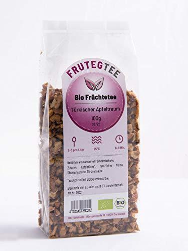 FRUTEG Türkischer Apfeltraum Bio 1000 g I loser Tee aus feinen Apfel-Stückchen - kontrolliert biologischer Anbau I leckerer Apfeltee Bio - Früchte-Tee koffeinfrei I Türkischer Apfel-Tee lose 1 kg