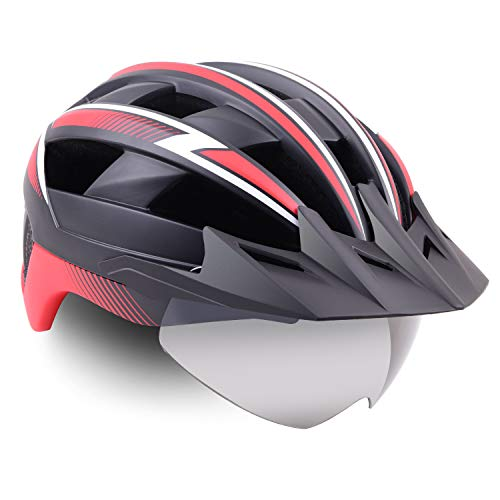 Bike Helmet Men/Women, Basecamp Bicycle Helmet Cpsc/Ce Certified with USB Rare Light&Magnetic Goggles&Sun Visor&Carry Bag Cycling Helmet Bc-023 Adjustable Size for Adult Road/Mountain