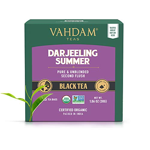 VAHDAM, Darjeeling Black Tea (30 TEA BAGS) | Direct from Source in India | Certified Organic, 100% Pure Unblended Darjeeling Tea Bags | Brew Hot or Iced | Helps Focus & Energize