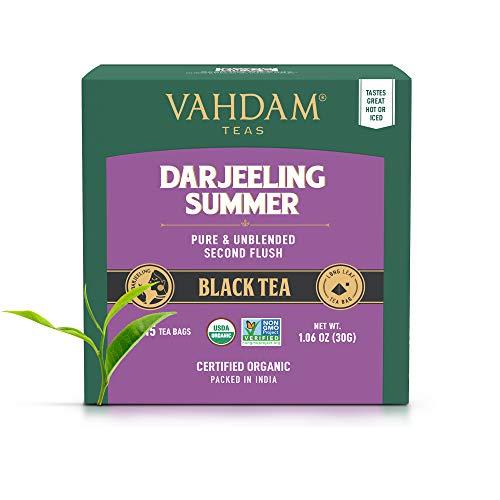 Té negro Darjeeling de Himalaya (30 bolsitas de té) | Cafeína Media, Té de Alta Energía | Bolsas de té Darjeeling sin mezclar puras, 100% certificadas, de India | Té Caliente, Helado o Kombucha