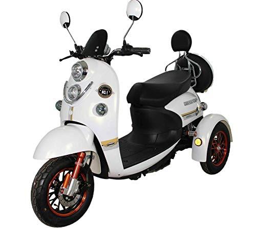 Nuevo scooter eléctrico de movilidad estilo retro de 3 ruedas para minusválidos y personas mayores hasta 25 km/h motor de 800 watt 60V 100AH Blanco Green Power