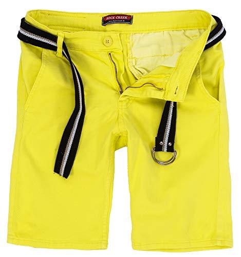 Rock Creek Herren Chino Shorts Hose Kurz Chinoshorts Inkl Gürtel Männer Sommer Bermuda Stretch Rc-2133 33 Lemon