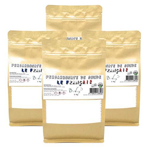 BioVeg5 | Percarbonate de Soude 4kg | Oxygène Actif <12% | Détachant & Blanchissant | Le Français | Sachet Kraft Zip Refermable