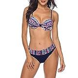 HYCy Solid Bikini Set Ropa de Playa Push Up Bikini Mujer Traje de baño Traje de baño Estampado Low Waight Biquini (Color: Champagne, Talla: Código L)