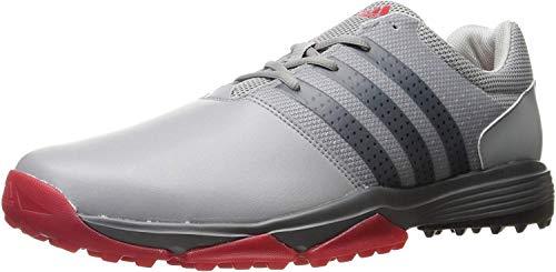adidas Men's 360 Traxion Golf Shoe, LIGHT ONIX/CORE BLACK/SCARLET, 9 M US