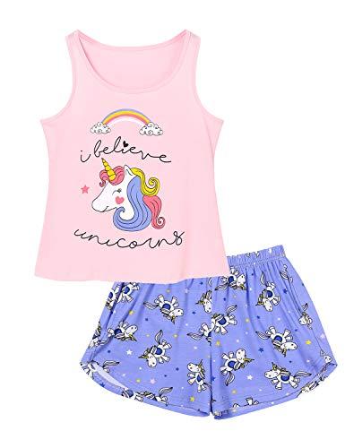 Cozchique Girls Tank Tops PJS 100% Cotton Unicorn Sleeveless Shirt & Shorts Tween Pajama Set, Pink & Purple, 8
