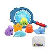 Juguetes Bañera Bebe, Kit de Juguetes de Baño para Niños - 6 Animales Marinos Squirter con...