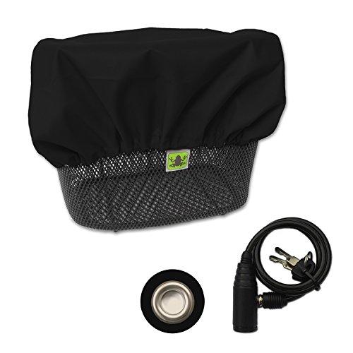 MadeForRain Schlicht-Elegante, wasserdichte Abdeckung mit Diebstahlschutz für Fahrradkörbe - CityTurtle AntiTheft - Tiefschwarz