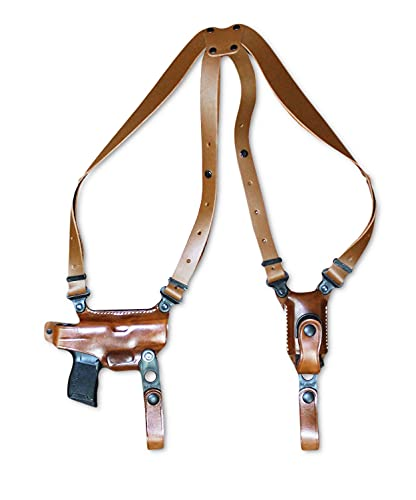 Premium Leather Horizontal Shoulder Holster System with Single Magazine Carrier for Regular Sig P365 with Out Rail 9mm Micro Compact 3.1''BBL, Right Hand Draw, Brown Color #1329#