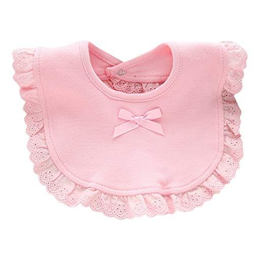 Gyratedream Baby Meisje Snap Knop Bibs Katoen Leuke Bow Kant Bibs Waterdichte Saliva Handdoeken voor 0-2 Jaar Oud, 20 * 26CM, Wit en Roze(Optioneel) roze
