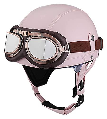 KKAAMYND Casco De Media Concha para Adultos Vintage,con Visera UV Gafas, Casco Jet De Cuero Unisex,Casco De Montar Al Aire Libre De La Motocicleta del Scooter De La Bicicleta del Crucero