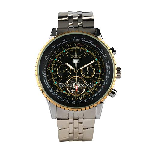 Jaragar, orologio da polso da uomo, alla moda, in acciaio inox, meccanico, automatico, da lavoro, regalo per uomo