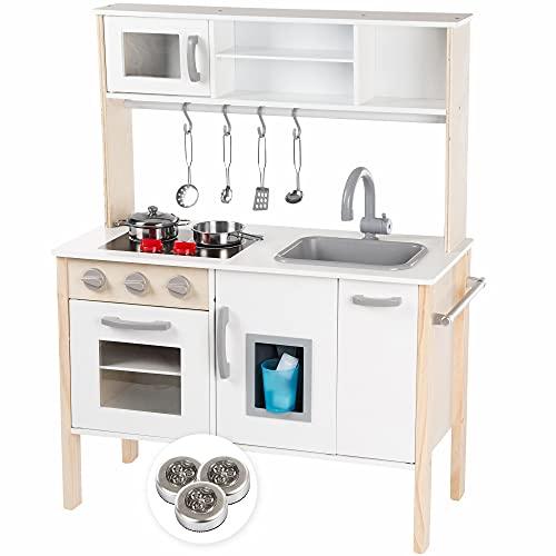 Kinderplay Cucina Giocattolo per Bambini - Cucina Legno per Bambini Altezza al Piano del Tavolo 49 cm, con Accessori da Cucina, Luce LED, Altezza 90 cm, Modello GS0055