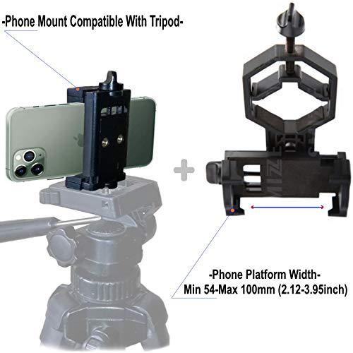 SMIZZE Quality Universal Smartphone Adapter + Cell Phone Tripod Mount - Compatible With iPnone Monocular Binocular…