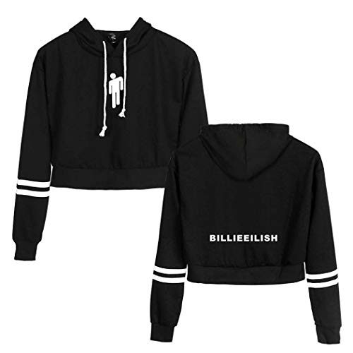 Flyself Donna Billie Eilish Fans Felpa con Cappuccio Cool Tumblr Crop Top Corta Pullover Sportiva Ragazza Felpa Streetwear Casual Sweater