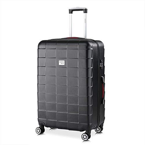 Monzana Hartschale Trolley Koffer | Größe XL | TSA Schloss | Zwillingsrollen | Schwarz | Reisekoffer Rollkoffer