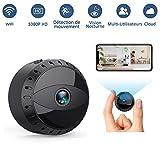 Tesecu Mini Caméra Espion Cachée sans Fil WiFi, Cam IP HD1080P Vision Nocturne Détection de Mouvement Caméra de Surveillance Sécurité pour iPhone/ Android/ Support Maximum Carte de 128G(Pas Incluse)