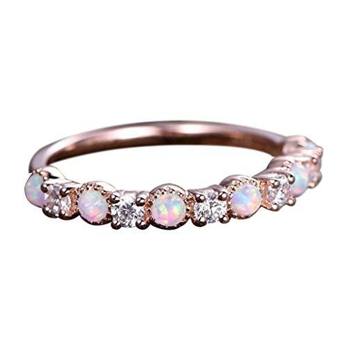 Innerternet Mode Glamour Damen-Ring Einfache Temperament Opal Rose Gold Strass Ring Schmuck Zirkonia Band Ring
