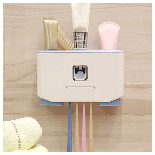 LHHL Tandpasta dispenser en tandenborstelhouder, multifunctioneel, voor alle soorten tandenborstels, wandmontage Blauw