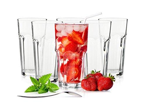 Sendez 6 Longdrinkgläser 425ml Caipirinha Gläser Kaffeegläser Teeggläser Cocktailgläser (Ohne Löffel)