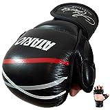 IRON MIKE Premium MMA Handschuhe aus Leder mit extra Dicker Polsterung - MMA Sparring Handschuhe mit Transportbeutel - MMA Handschuhe Herren/Damen/Kinder aus Leder zum MMA, Taekwondo & Krav MAGA