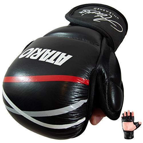 ATARIO Premium MMA Handschuhe aus Leder mit extra Dicker Polsterung - MMA Sparring Handschuhe mit Transportbeutel - MMA Handschuhe Herren/Damen/Kinder aus Leder zum MMA, Taekwondo & Krav MAGA