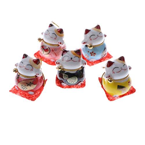 Sharplace 5er-Set Niedliche Winkende Hand Glückskatze Tierfigur Sammlfiguren Spielzeug - # d