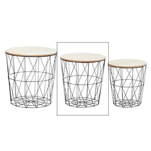 Beistelltisch Sofatisch Tisch mit Stauraum Couchtisch Korb Metall Holz Nachttisch schwarz (Mittel)
