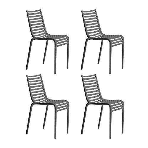 Driade Pip-e - Set di 4 sedie G11, 44 x 83 x 52,5 cm, colore: Grigio opaco