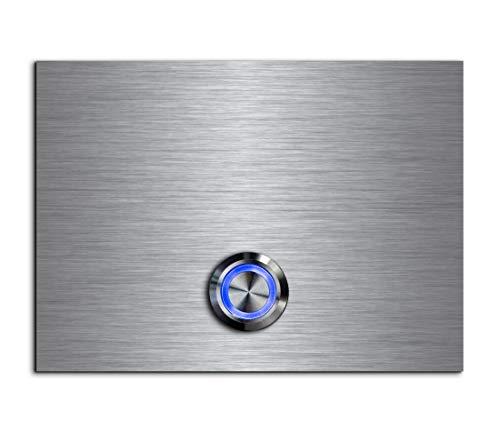 CHRISCK Design - roestvrij stalen deurbel Basic 11x8 cm rechthoekig met een bel-knop/LED-verlichting en mooie decoratieplaten van acrylglas naamplaat/belplaat