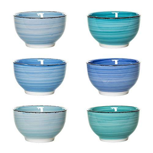 esto24 Design 6er Set Müslischalen Dessertschale 750ml Porzellan in tollen Farben - Das Highlight auf jedem Tisch (Müsli Blau)