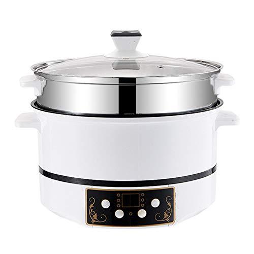 CHQY Mini Pot Chaude électrique, cuisinière à Riz à chronométrage Intelligent en Acier Inoxydable, Pot à la Vapeur de préservation de Chaleur, avec Une Fonction de protec White-22cm