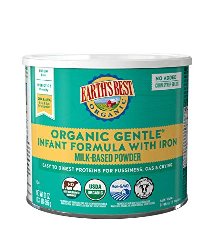 Earth's Best Organic Gentle Infant Powder Formula with Iron, Easy To Digest Proteins, 21 oz