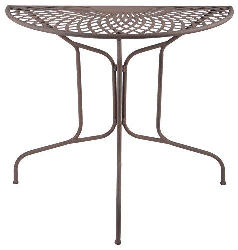 Esschert Design Halbrunder Tisch aus Metall, 80 x 40 x 70, Wandtisch, in klassischer Optik, sehr stabil