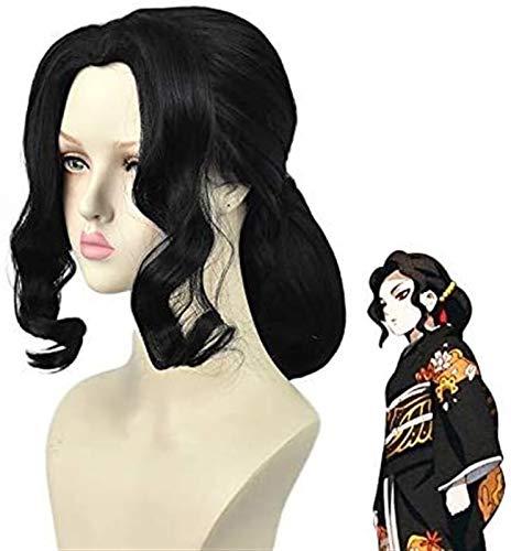 GIAOYAO Demonio Slayer Kimetsu No Yaiba Kibutsuji Muzan Mujer Peluca Cosplay Traje Resistente al Calor Pelucas de Fiesta de Halloween