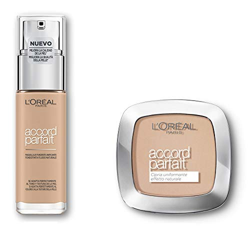 L Oréal Paris MakeUp Fondotinta Arricchito con Acido Ialuronico, 2.N Vanilla, 30 ml + Cipria Uniformante Accord Parfait, Cipria in Polvere Uniformante e Fissante, 2N Vanille