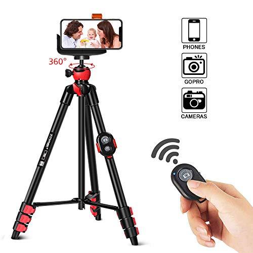 Handy Stativ iPhone Smartphone ZOMEi 135cm Kamera Stative, Leichtes Staiv für für Canon Nikon Sony und iPhone Samsung Galaxy Huawei mit Bluetooth Fernbedienung und Handy Halter